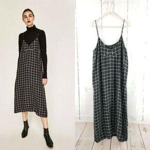 Zara Spaghetti Slip Midi Windowpane Check Dress